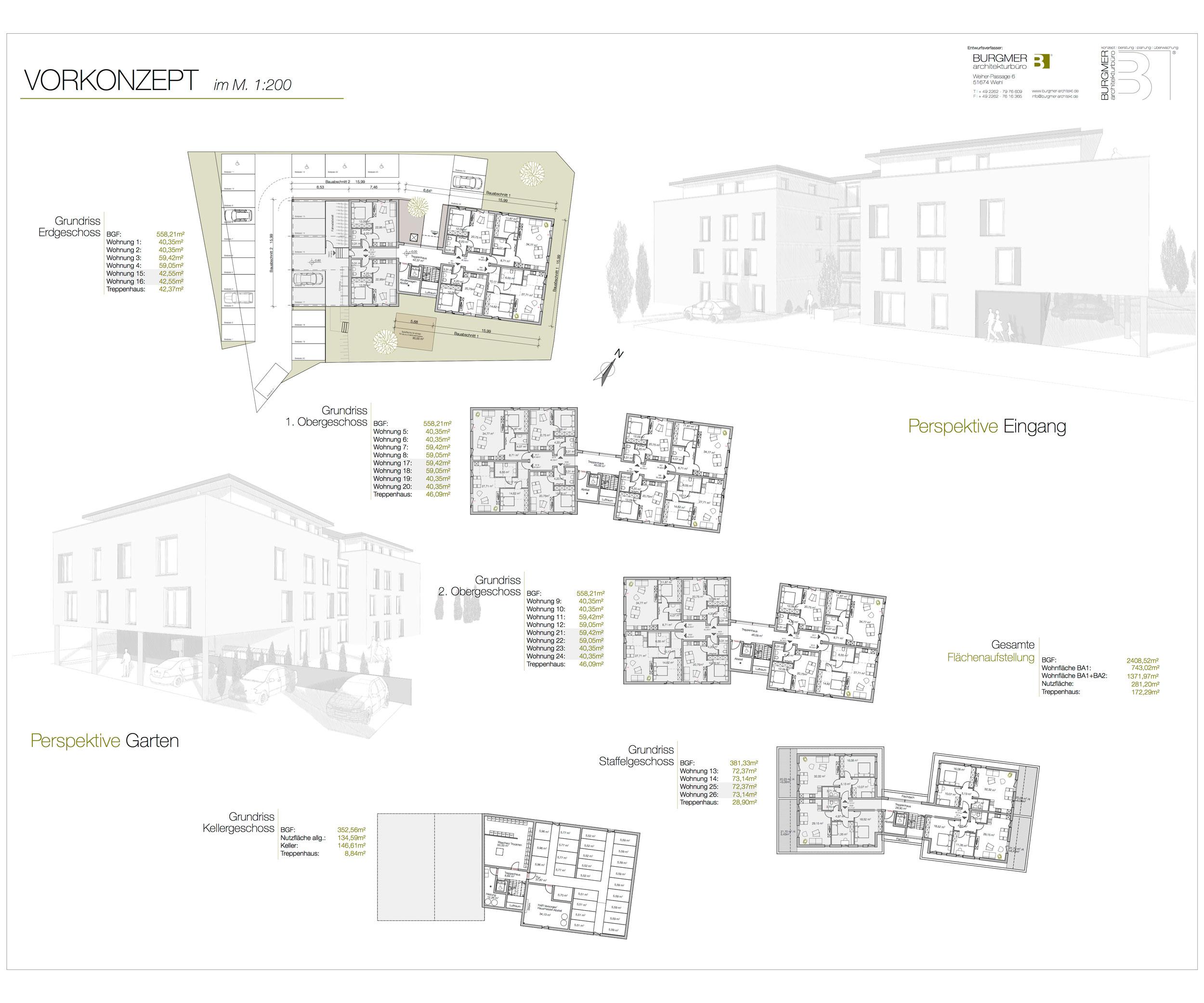 Konzeptentwurf, ,Wohnhaus,26 Wohneinheiten ,sozialer Wohnraum, Siegen, Burgmer-Architekt, Architekturbüro-Wiehl